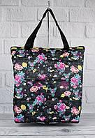 Сумка хозяйственная трансформер текстильная черная узор LeSportsac 9801-13, фото 1