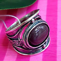 Серебряное кольцо с фиолетовым улекситом- Стильное кольцо из серебра  с улекситом