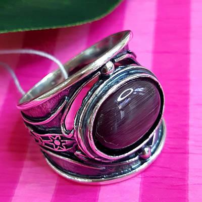Срібне кільце з фіолетовим улекситом - Стильне кільце з срібла з улекситом