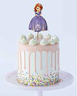 Большой Топпер в торт Принцесса София со стразами (КАРТОН Односторонний)