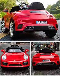 Электромобиль детский спорткар красный колеса EVA для 3-8 лет с пультом мотор 2*20W аккумулятор 2*6V4.5AH