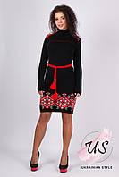 Теплое вязаное платье с орнаментом в украинском стиле. Цвета!, фото 1