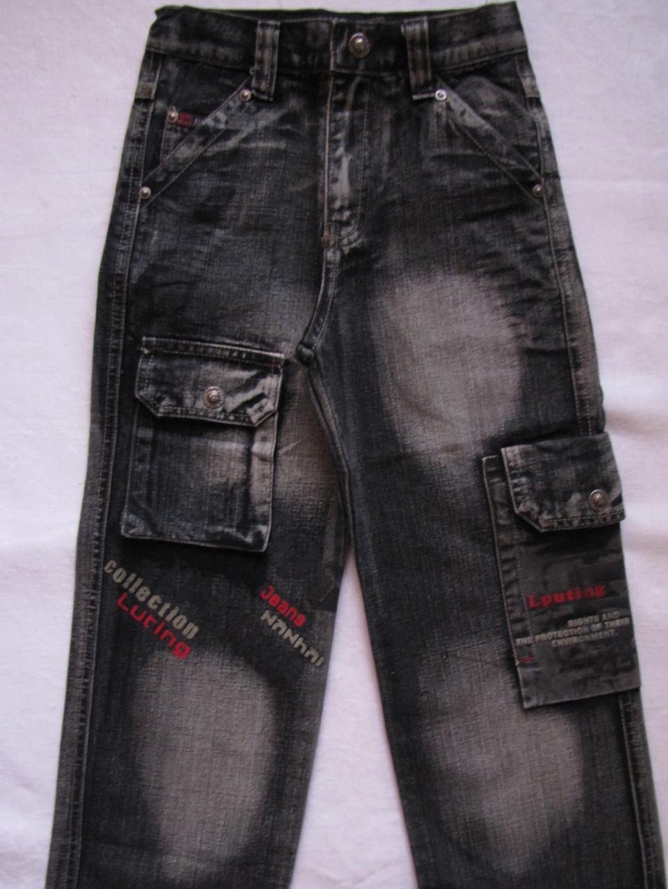 Джинсовые брюки для мальчиков 100,110,120,130,140 роста Накладные карманы