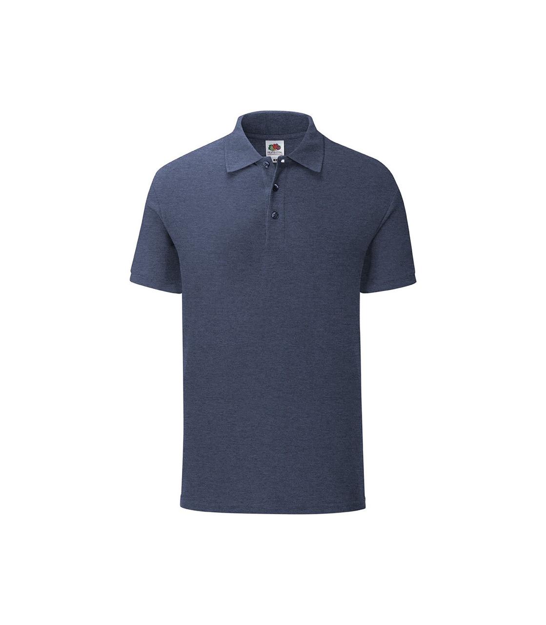 Мужская футболка поло хлопок темно-синяя меланж 044-VF