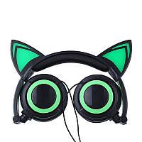 Накладные LED наушники с кошачьими ушками Зеленые (RSLN-5107)