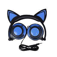Накладные LED наушники с кошачьими ушками Синие (LH-5091), фото 1