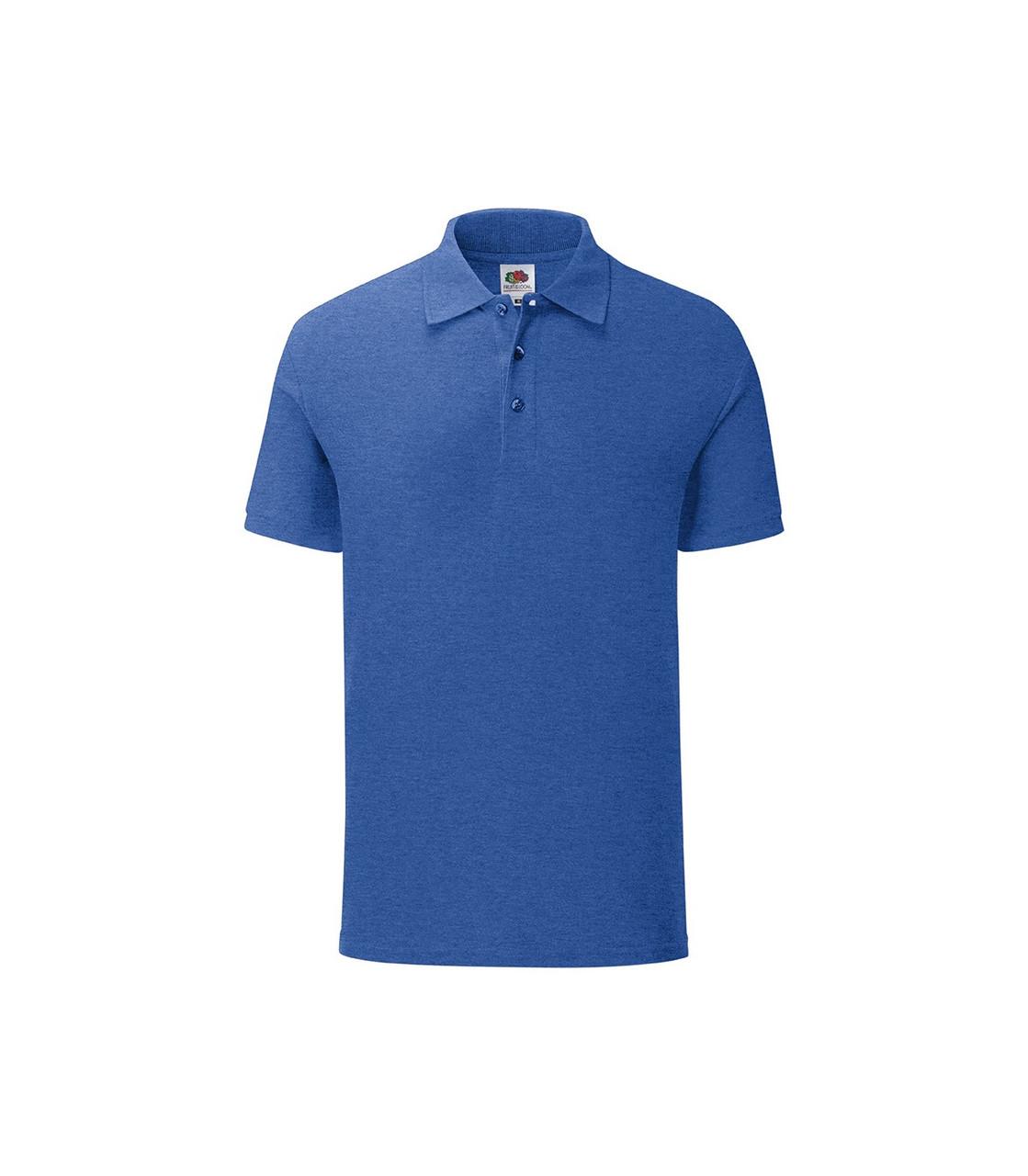 Мужская футболка поло хлопок синяя меланж 044-R6