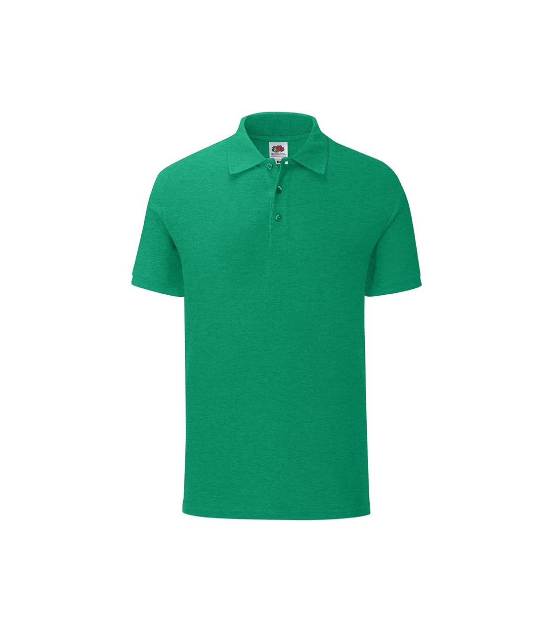 Мужская футболка поло хлопок зеленая меланж 044-RX