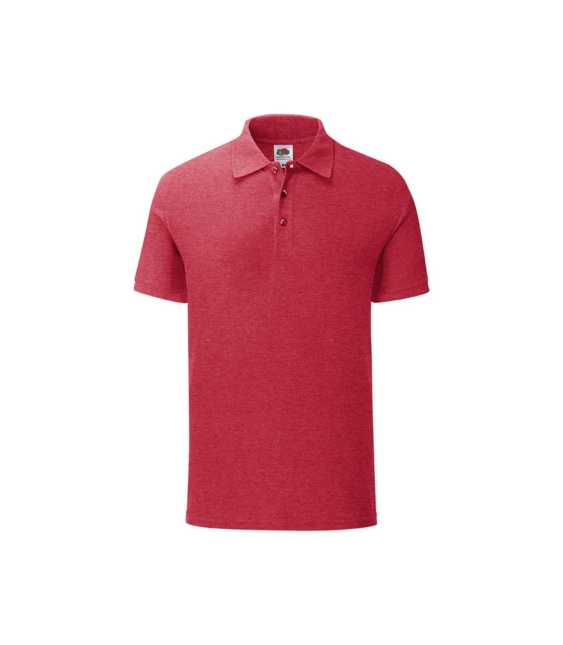 Мужская футболка поло хлопок красная меланж 044-VH