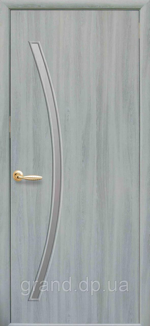 Межкомнатная дверь  Дива Экошпон со стеклом сатин, цвет кедр