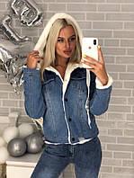 Женская Джинсовая Куртка с плюшевым капюшоном