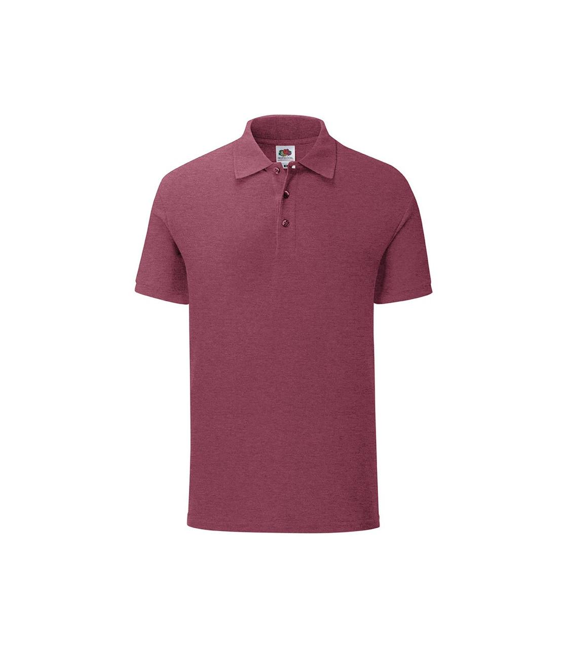 Мужская футболка поло хлопок бордовая меланж 044-Н1