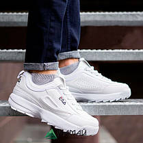 Кросівки чоловічі Fila Disruptor 2 білі репліка, фото 3