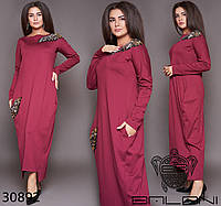 Стильное женское платье длинное с украшением из бронзовых пайеток