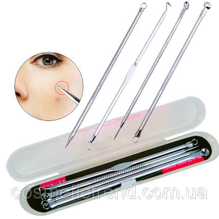 Инструменты для чистки лица косметологические профессиональные набор (4 шт/компл+футляр), фото 2