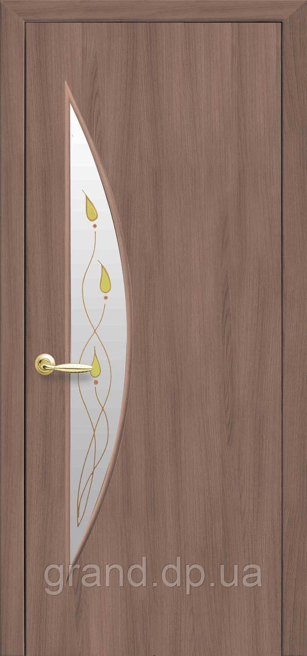 Межкомнатная дверь  Луна Экошпон со стеклом сатин и рисунком, цвет ольха 3D