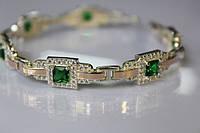 Серебряный браслет с зелеными камнями все размеры все расцветки 17г серебро 925 золото 375
