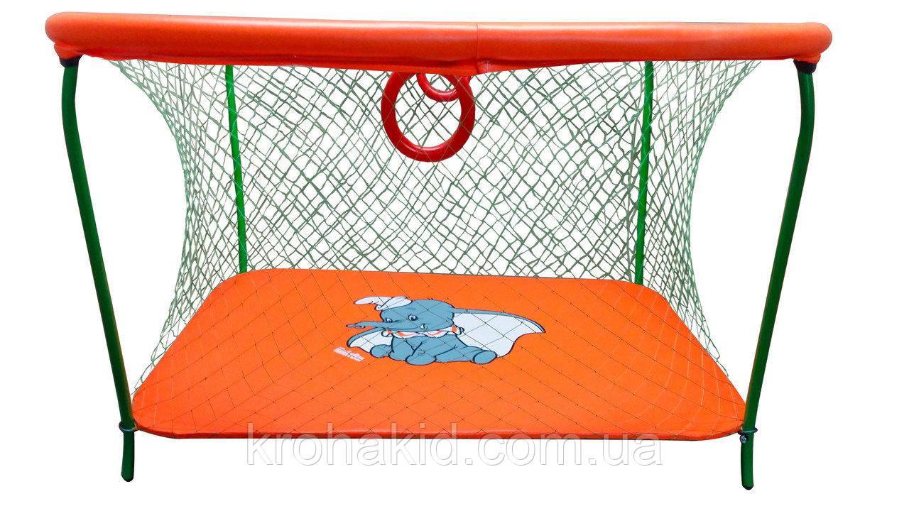 Детский игровой манеж KinderBox - Оранжевый слоник с крупной сеткой (km 5514)