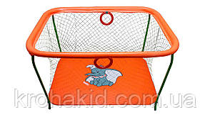 Детский игровой манеж KinderBox - Оранжевый слоник с крупной сеткой (km 5514), фото 2