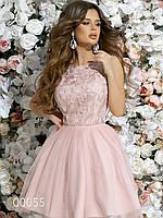 Нарядное платье с гипюром и пышной юбкой