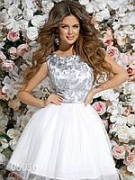 Платье с пышной юбкой и гипюровым верхом