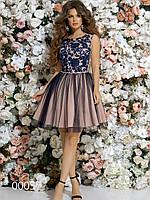 Ажурное платье с гипюром и пышной юбкой из габардина, 00057 (Синий), Размер 46 (L)