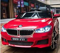 Детский электромобиль БМВ BMW 6 GT красный (белый, черный). JJ2164EBLR-3. Колеса EVA,кожаное сиденье. Лицензия