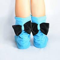 Тапочки Бантики голубые с черным бантом