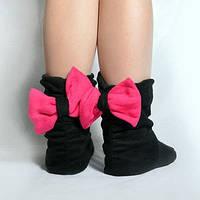 Тапочки Бантики черные с розовым бантом