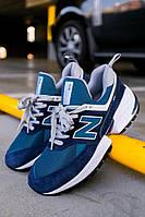 Мужские кроссовки New Balance 574 Sport Blue White (нью беланс 574, синие/белые)