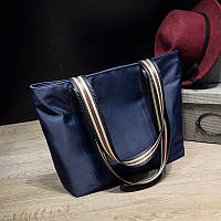 Женская синяя сумка шоппер из тентовой ткани