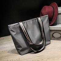 Женская серая сумка шоппер из тентовой ткани