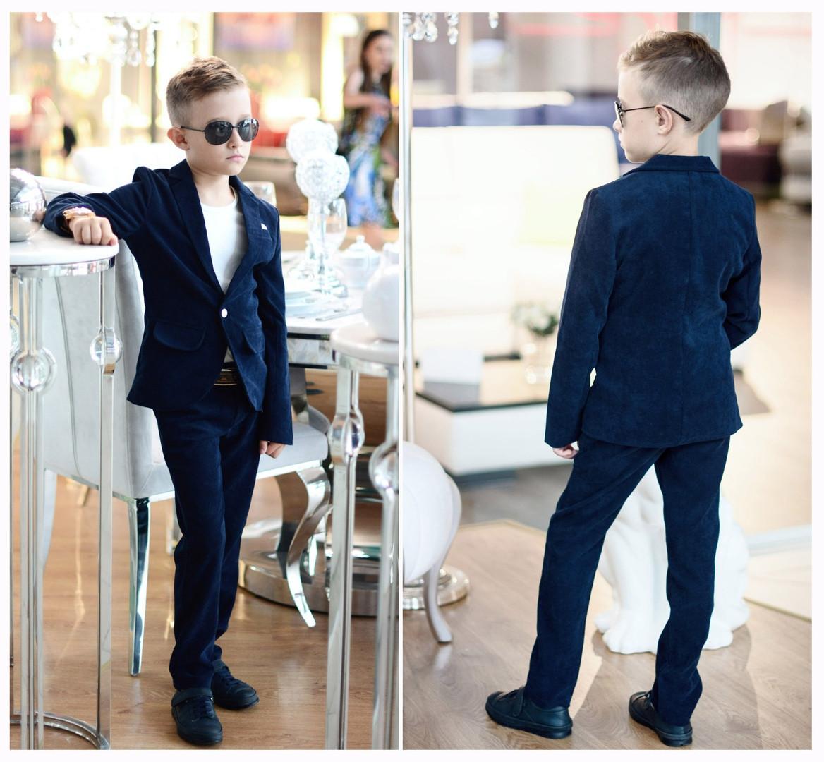 Костюм в школу темно синий вельвет для мальчика пиджак+брюки классика 116,122,128,134,140,146