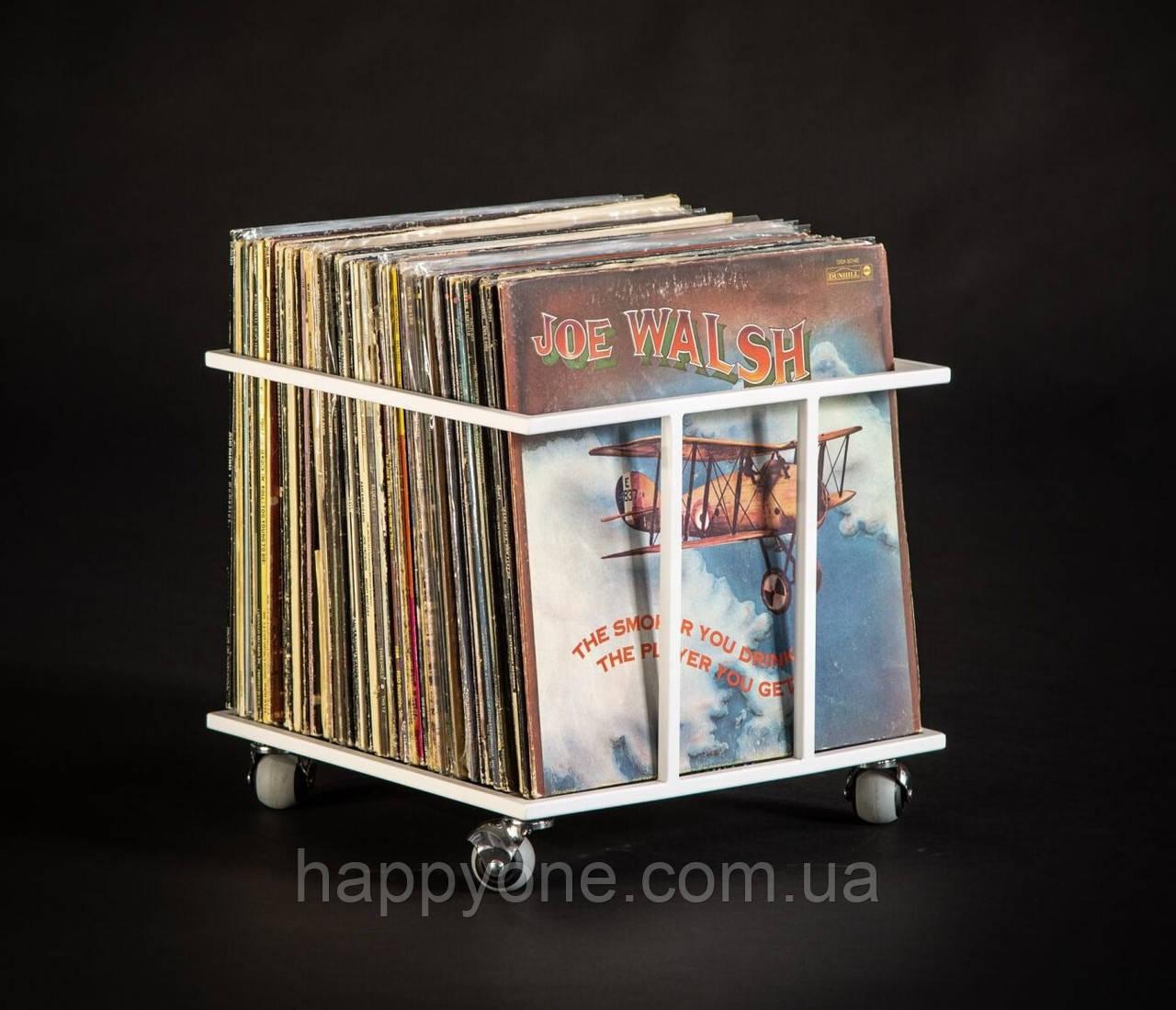 """Металлический контейнер для хранения виниловых пластинок """"Модель II"""" (белый)"""