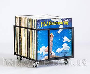 """Металлический контейнер для хранения виниловых пластинок """"Окно в мир музыки"""""""