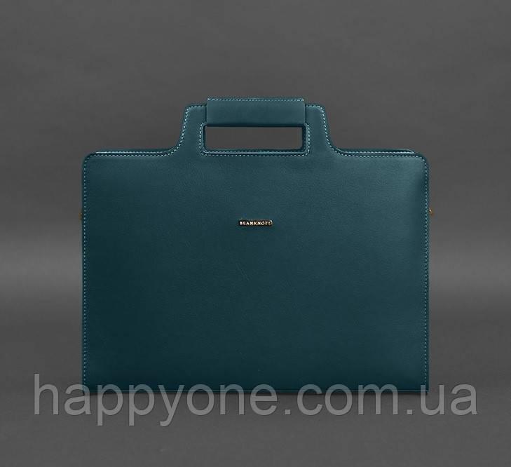 Женская деловая сумка для ноутбука и документов (малахит)