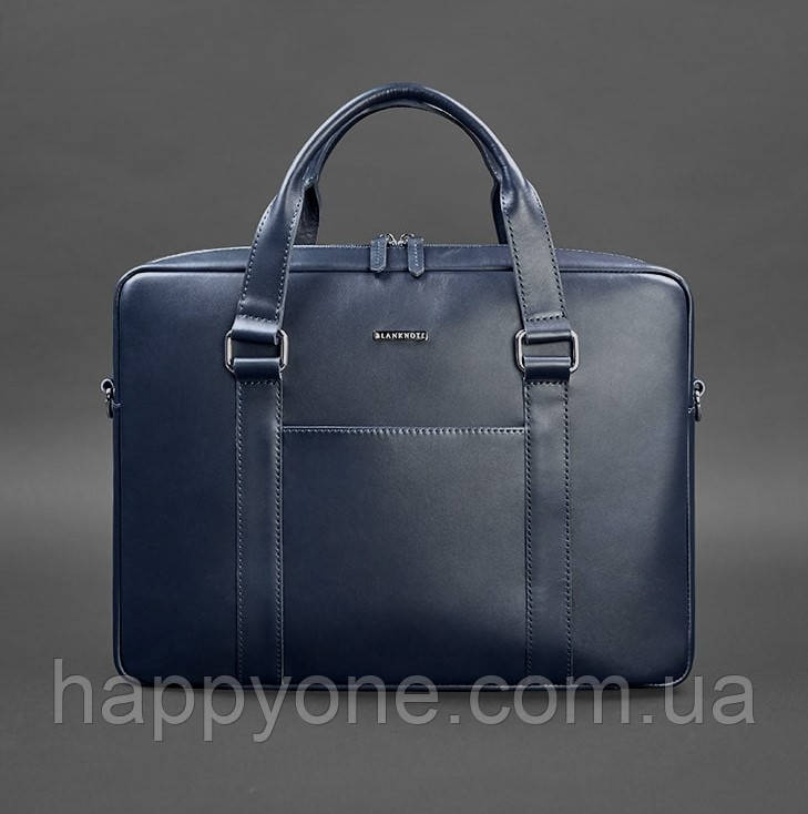 Деловая сумка для ноутбука и документов (темно-синяя)