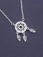 Подвеска женская на шею Серебро 925 Фианит 40 см
