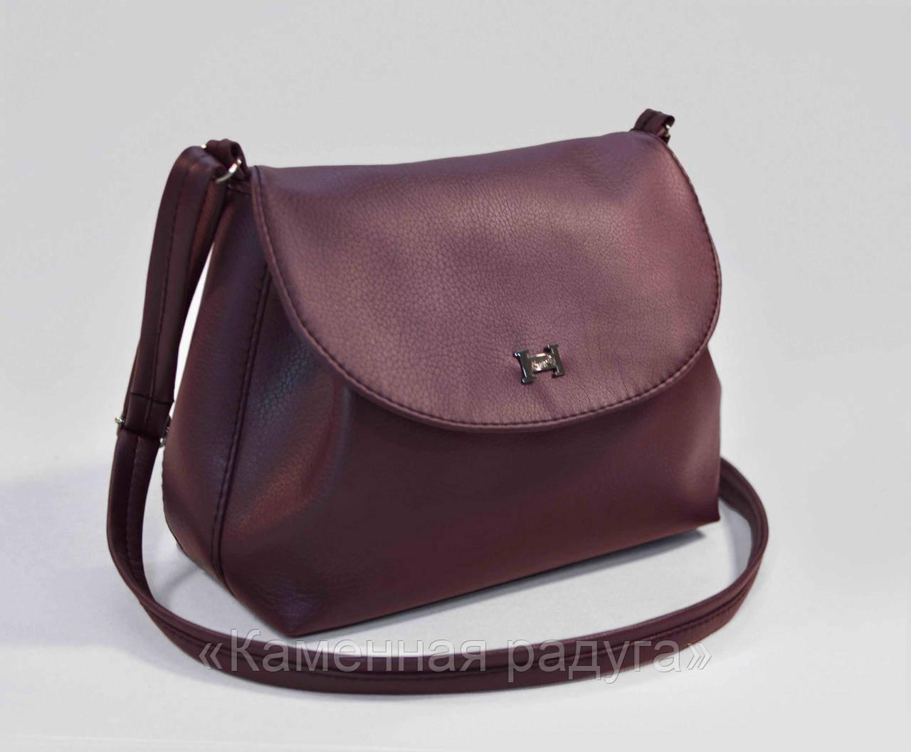 Стильная тёмно-фиолетовая сумочка кроссбоди