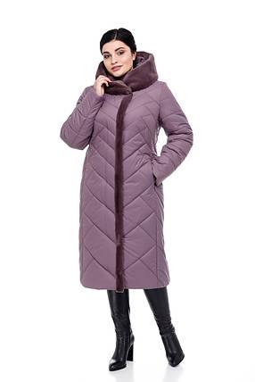 Женское зимнее пальто на синтепухе с кроликом больших размеров от 48 до 64, фото 2