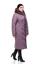 Женское зимнее пальто на синтепухе с кроликом больших размеров от 48 до 64, фото 3