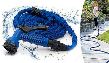 Поливочный шланг Magic Hose 15 метров X hose с распылителем и краном. Шланг для полива