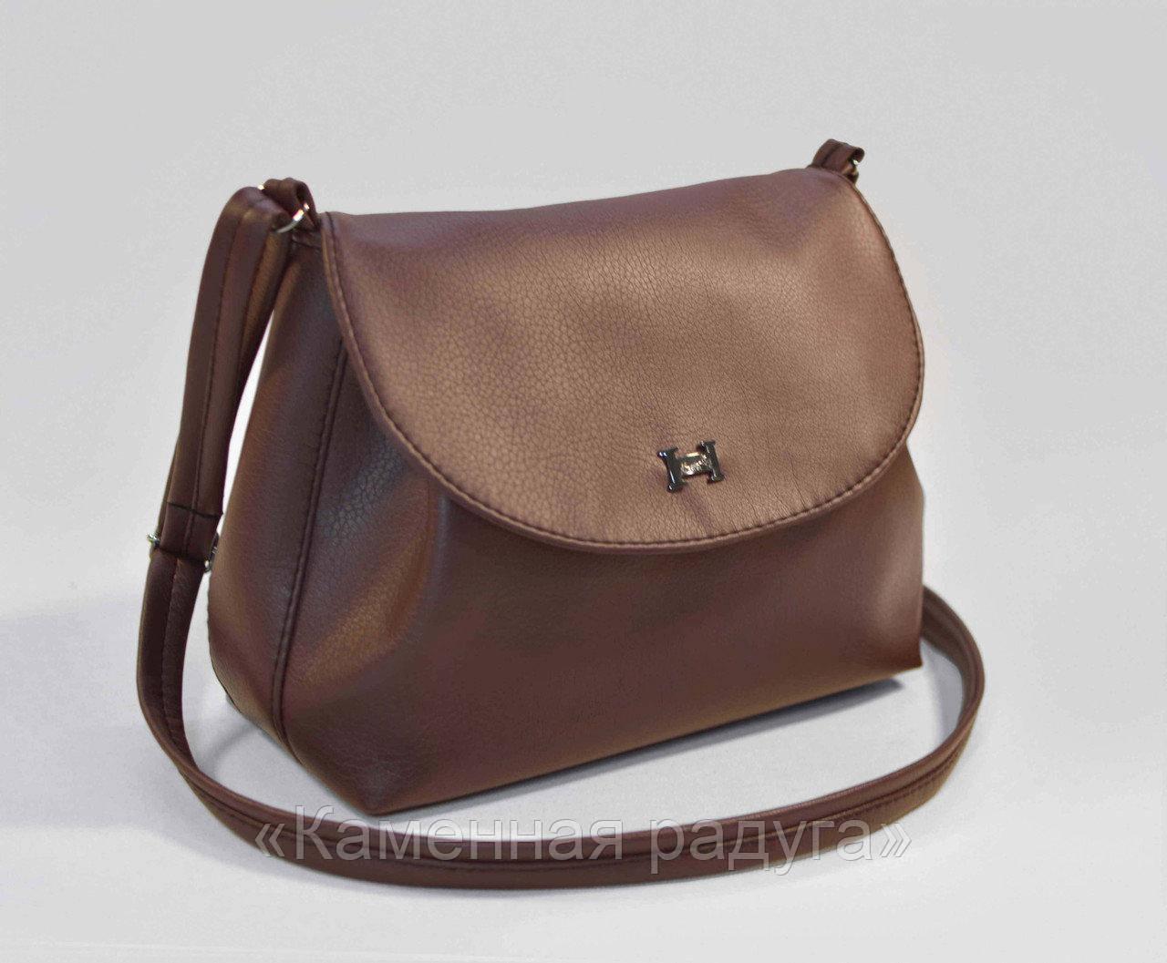 Стильная светло-коричневая сумочка кроссбоди