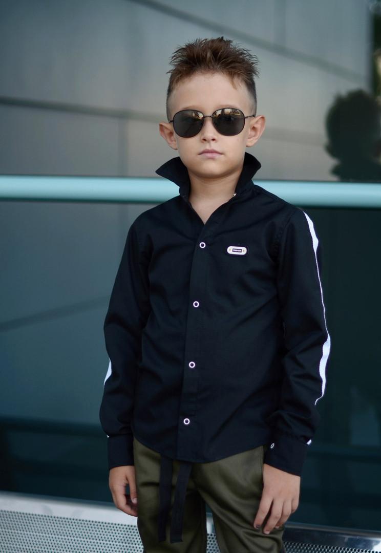 """Рубашка на мальчика длинный рукав с эмблемой """" fashion"""" и актуальными лентами на рукавах"""