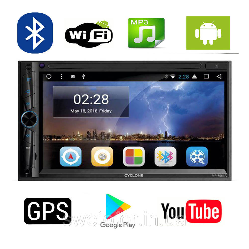 Android 2DIN Авто Магнитола CYCLONE MP-7061 Wi-Fi+Bluetooth+GPS