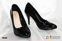 Туфли лодочки, черные лак ,низкий каблук