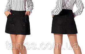 Замшевая молодежная юбка с карманами, деловая, офисная р. 42,46 (225) черная
