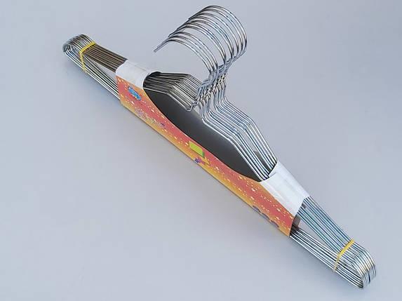 Плечики вешалки тремпеля металлические хромированные с вырезами, длина 40 см, в упаковке 10 штук, фото 2