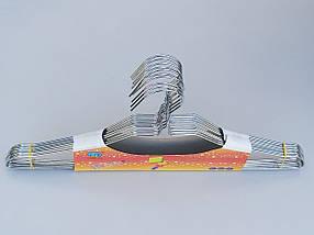 Плечики вешалки тремпеля металлические хромированные с вырезами, длина 40 см, в упаковке 10 штук, фото 3