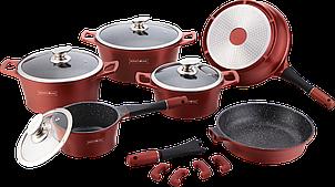 Набор кухонной посуды Royalty Line RL-ES2014M Burgundy 14pcs мраморное покрытие